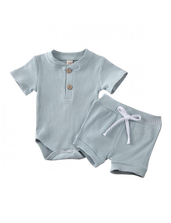 Baby Summer Clothing Newborn Kid Baby Boy Girl Clothes Short Sleeve Bodysuit Shorts Ribbed Solid 2Pcs Outfits Set