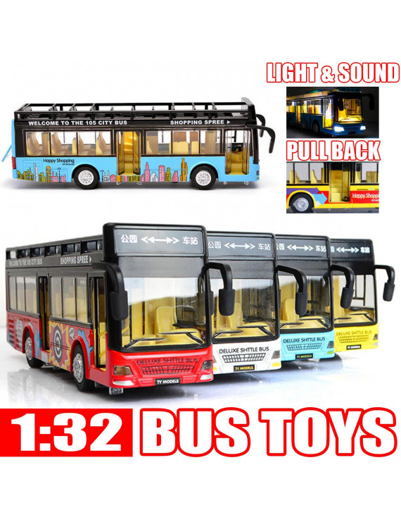 1:32 3D Open-air Double-decker Sightseeing Bus Battery Operated Toy Bus w/ Fun Sounds, Flashing Lights, Music