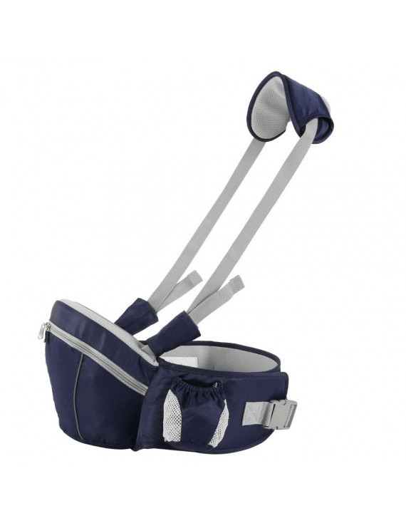 ODOMY Hipseat Baby Carrier 0-36 Months Lightweight Adjustable Back Supporting Waist Stool Baby Carrier Seat-Dark Blue