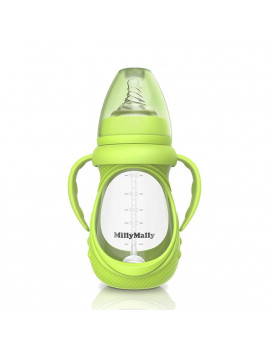 Baby Glass Bottle Anti Colic Wide Neck With Detachable Handle Feeding Bottle For Newborn Infant Toddler BPA Free Green 8oz