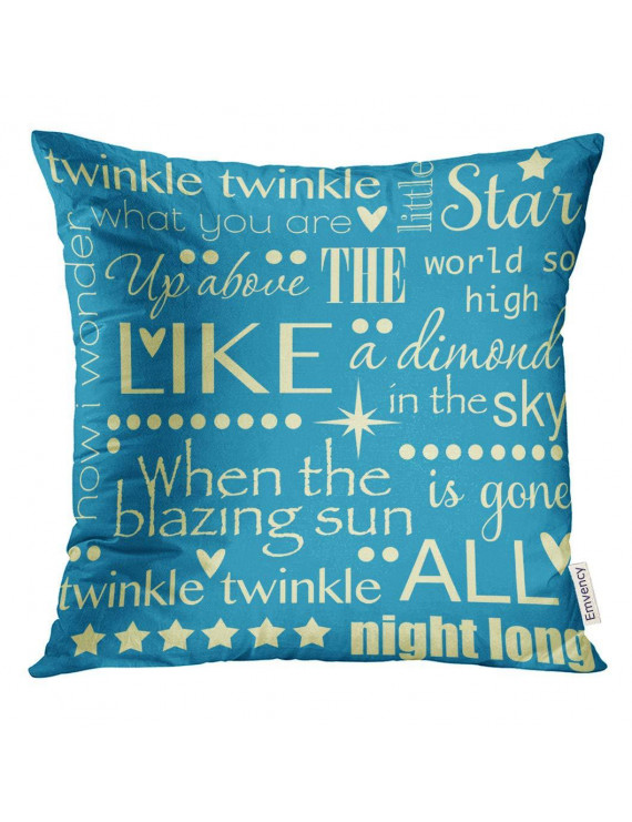 ARHOME Baby Twinkle Little Star Nursery Rhyme Word Pastel Blue and Yellow Child Pillow Case 16x16 Inches Pillowcase