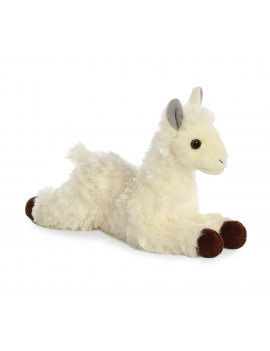 31744 World Mini Flopsie Plush Toy Toy, White, White and black Llama stuffed animal measures approximately 8 By Aurora