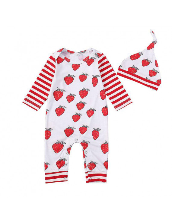 Baby Rompers Girls Cotton Clothing Small Strawberry Print One-piece + Printed Strawberry Hat Baby Full Sleeve Clothes