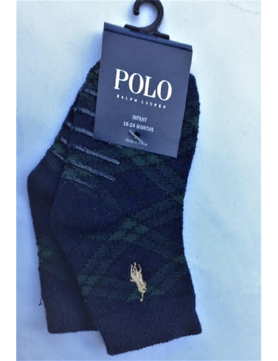 Polo Ralph Lauren 1 Pair Infant Boy's No Slip Plaid Socks, Size 18-24 Months