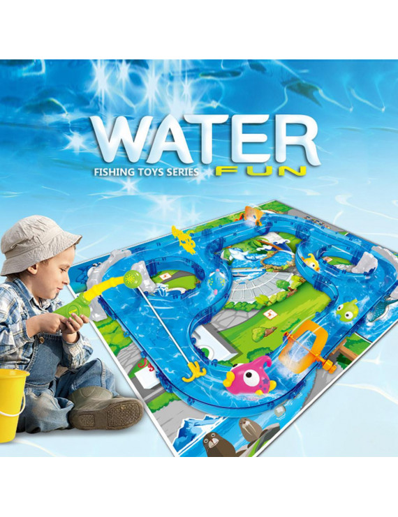 GRAN DIY Assembly Track Fishing Game Waterway Park Floating Bath Water Toys