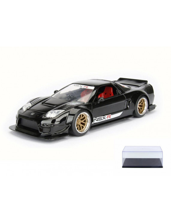 Diecast Car & Display Case Package - 2002 Honda NSX Type-R Japan Spec Wide Body, Black - Jada 98555DP1 - 1/24 Scale Diecast Model Toy Car w/Display Case