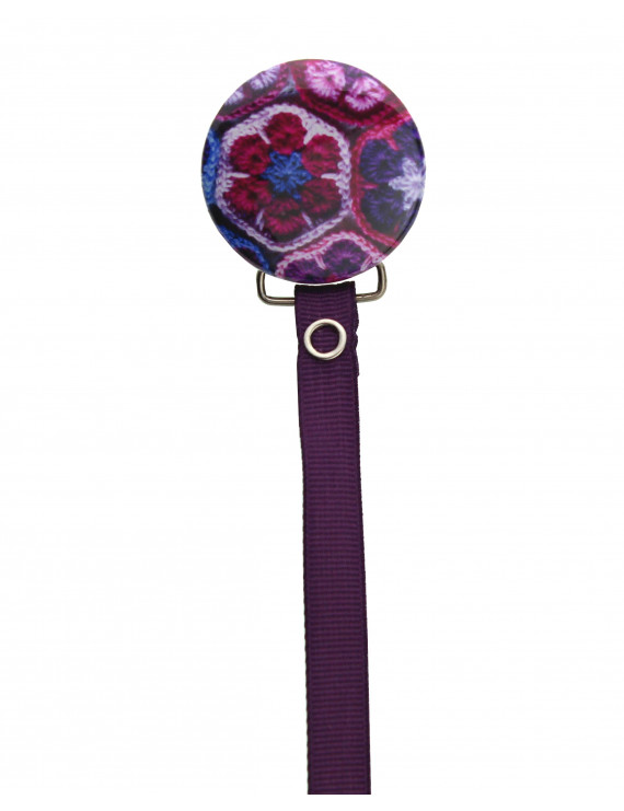 Purple Crochet Flowers Pacifier Clip with Matching Ribbon