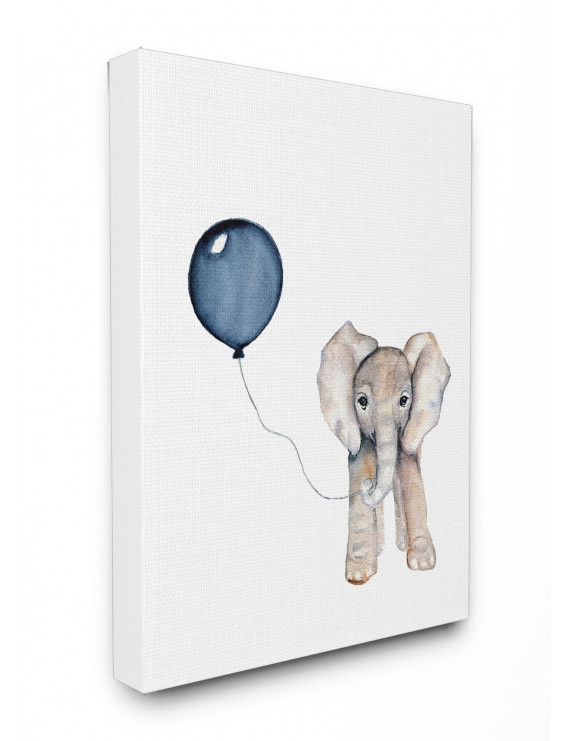 Baby Elephant with Blue Balloon Oversized Stretched Canvas Wall Art, 24 x 1.5 x 30