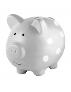 Ceramic Piggy Bank, Makes a Perfect Unique Gift, Nursery Décor, Keepsake, or Savings Piggy Bank for Kids, Gray Polka Dot, Glazed ceramic bank is perfect for.., By Pearhead
