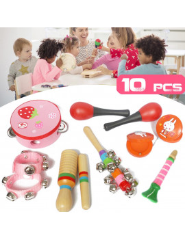 10Pcs Kid Children Toddler Musical Toy Kit Sand Hammer Horn Wooden Instrument for Newborn Preschool Educational Tools