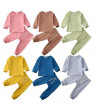 2pcs Newborn Kids Baby Boy Girl Clothes Autumn Winter Set Long Sleeve Tops T-shirt Pants Solid Adorable Outfits Set 6-24Months