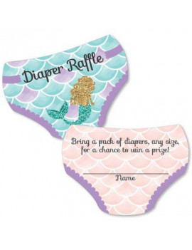 Let's Be Mermaids - Diaper Shaped Raffle Ticket Inserts - Baby Shower Activities - Diaper Raffle Game - Set of 24