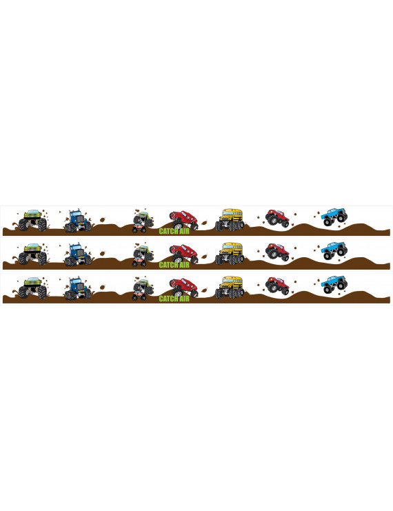 Monster Truck Wall Border Wall Decal 4.5 inch wide x 13 Feet Long Kids Wall Decor for Boys