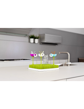 Boon Stem Grass And Lawn Baby Bottle Drying Rack Accessory - Creates More Drying Space, Blue/Orange