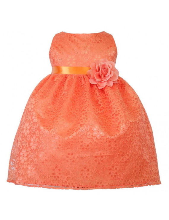 Baby Girls Orange Floral Lace T-Length Flower Girl Dress 6-24M