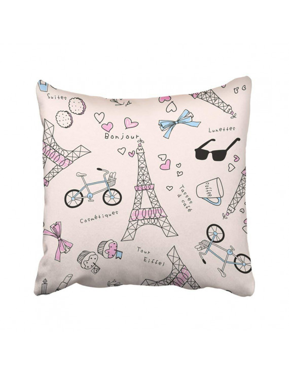 ARTJIA Pink Paris Cute Eiffel Tower Kids Girl Architecture Baby Bicycles Europe France Pillowcase Throw Pillow Cover 18x18 inches