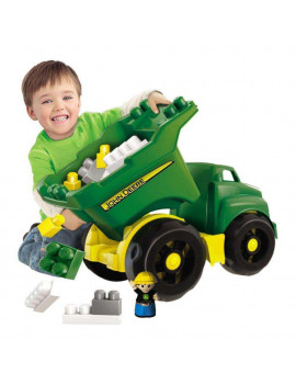 Mega Bloks John Deere Large Dump Truck with Big Building Blocks, Building Toys for Toddlers (25 Pieces)