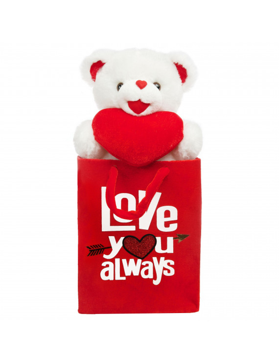 Way to Celebrate Valentine?s Day Teddy Bear Pal In Gift Bag