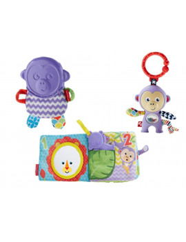 Fisher-Price 1-5 Book w/ Monkey Rattle, Monkey Teether & Monkey Rattle (#FGJ40, #DYF91, #FVF82)