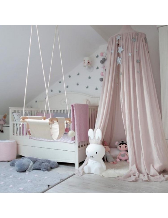 Princess Bed Canopy Mosquito Net for Kids Baby Crib, Round Dome Kids Indoor Outdoor Castle Play Tent Hanging House Decoration Reading nook Cotton Canvas Height 240cm / 94.9 inch