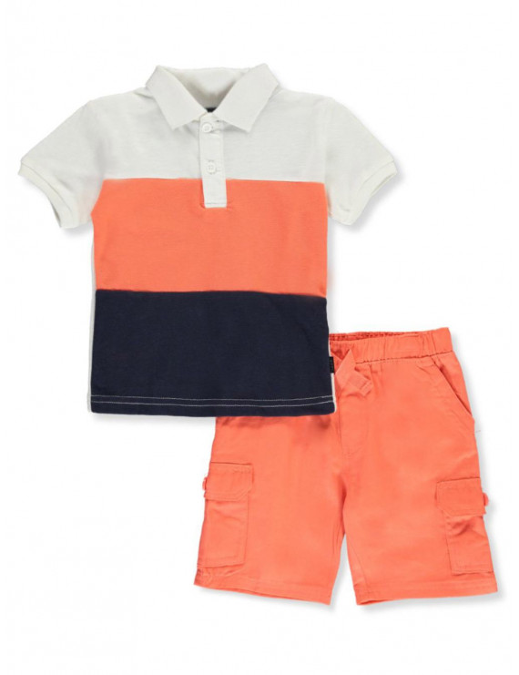 Beverly Hills Polo Club Baby Boys' Color Block 2-Piece Shorts Set Outfit (Infant)