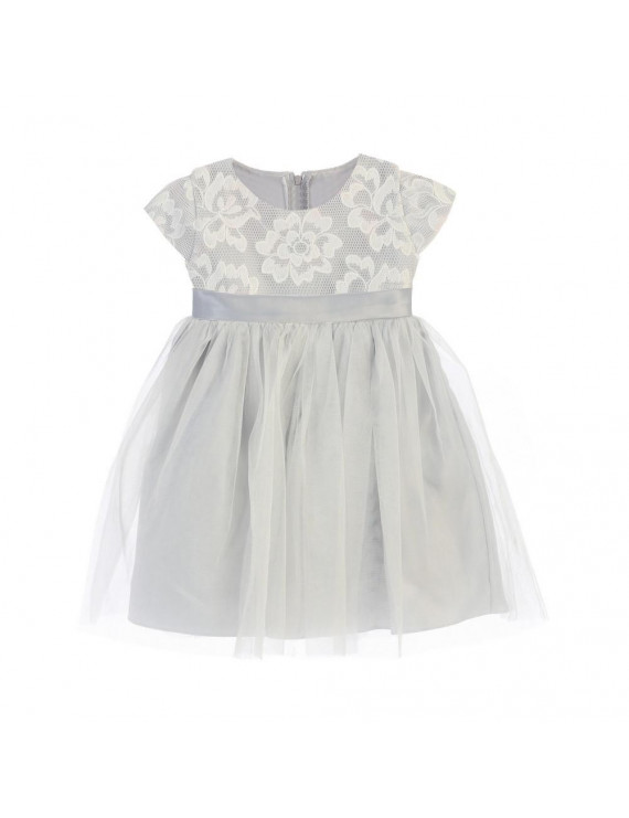 Sweet Kids Baby Girls Gray Floral Sponge Mesh Tulle Flower Girl Dress