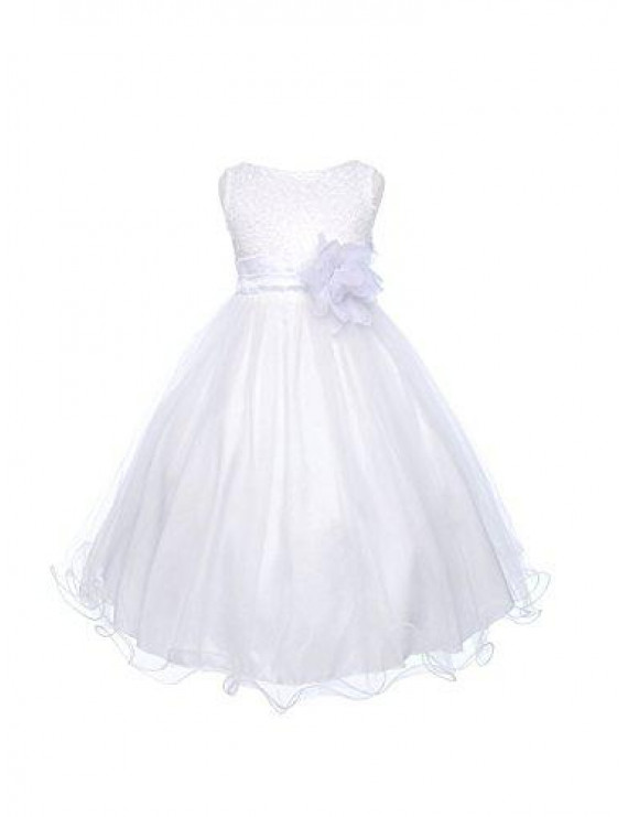Absolutely Beautiful Sequined Bodice with Double Tulle Skirt Party flower Girl Dress-KD305-White-6