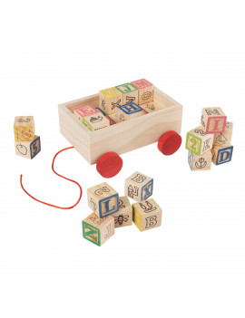 ABC and 123 Wooden Blocks with Pull Cart Storage Box- Alphabet Letters and Numbers Educational STEM Toy by Hey! Play!