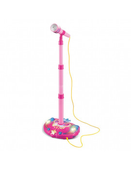 Kids Karaoke toy Adjustable Stand Music Microphone Toy with Light Effect - Pink