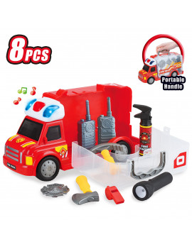 Best Choice Products 8-Piece Kids Portable Fire Truck Pretend Play Toy Set w/ Storage, LED Lights, Sounds, Accessories
