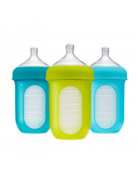 Boon Nursh Reusable Silicone Pouch Baby Bottle, Air-Free Feeding, Blue Multi Pack 8 Oz 3 Pk