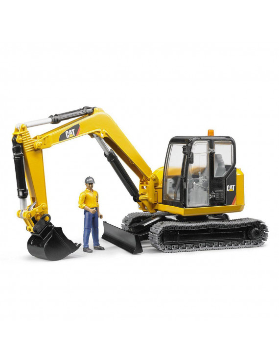 Bruder Toys Caterpillar Mini Excavator with Working Arm and Worker   02467