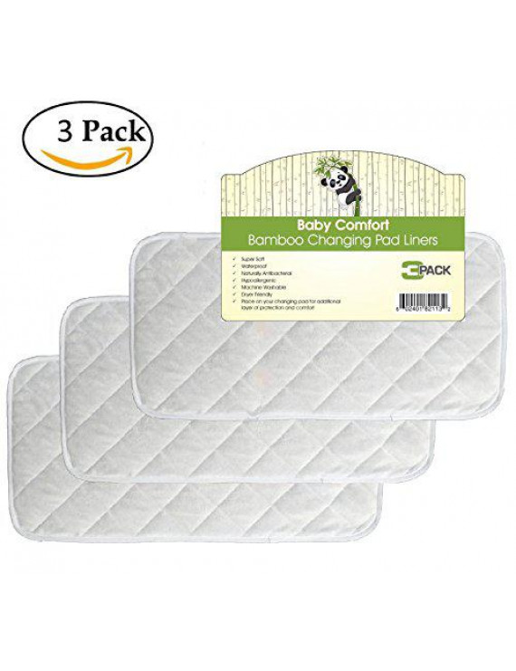 Quality Bamboo Changing Pad Liners 3 Pack, Quilted, Machine Washable & Dryer Friendly, Large 26? x 12.5?