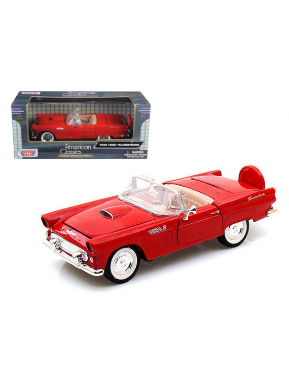 Motormax 1:24 Scale 1956 Ford Thunderbird Convertible Red Diecast Model Car