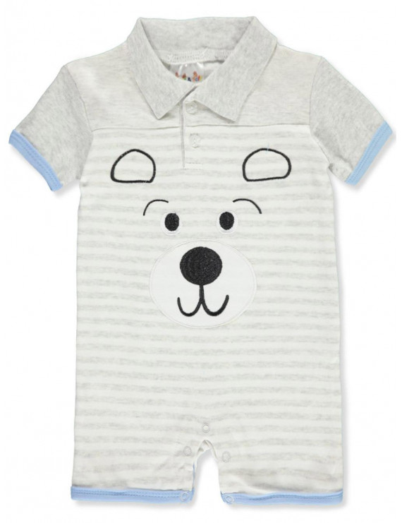 Sweet & Soft Baby Boys' Bear Stripes Polo Romper (Newborn)