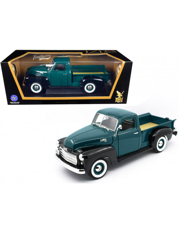 1950 GMC Pickup Truck Dark Green and Black 1/18 Diecast Model Car by Road Signature