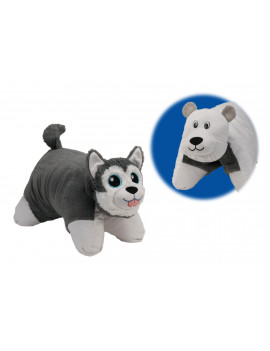 Flip 'N Play Friends 2 in 1 Plush to Pillow Husky to Polar Bear