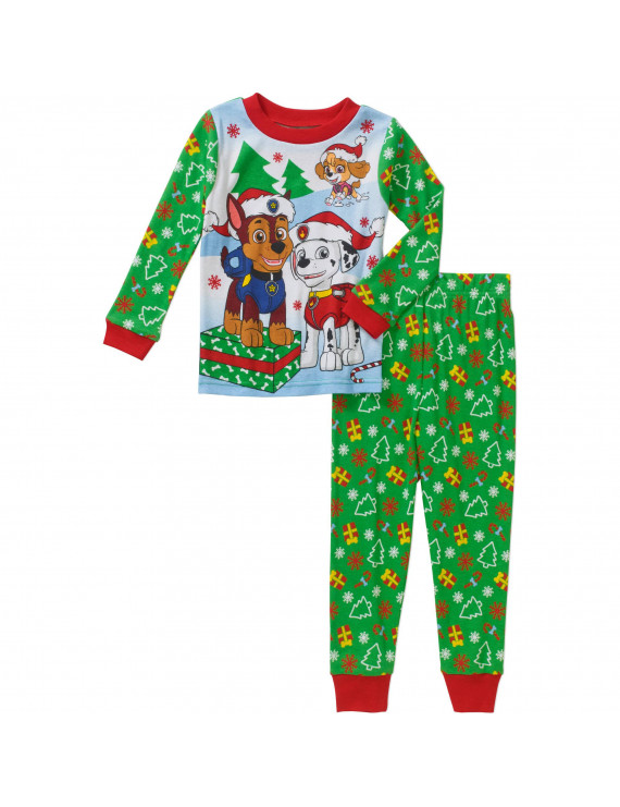 Paw Patrol Baby Toddler Boy Christmas Tight Fit Cotton 2pc Set