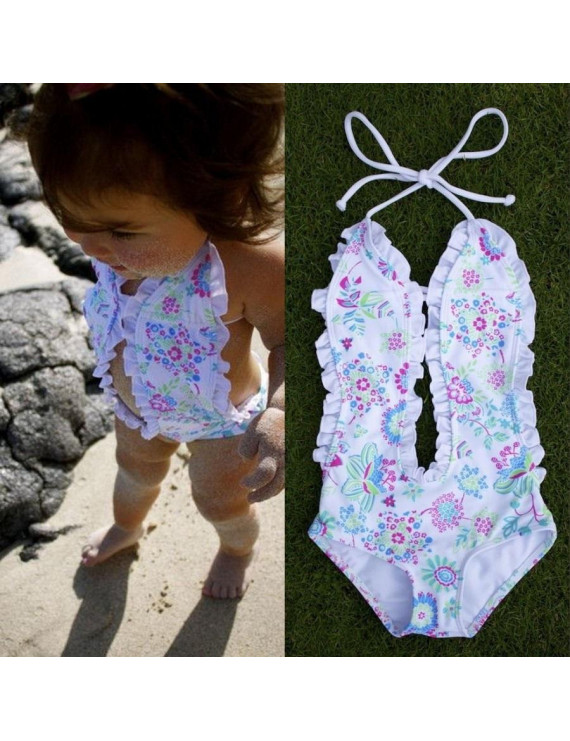 Floral Girls Baby Halter Split Bikini Swimwear Bathing Suit Swimsuit Costume 1-6Y