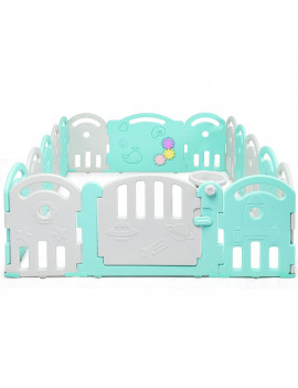 16-Panel Baby Playpen Kids Safety Activity Center with Safety Lock & Educational Toys