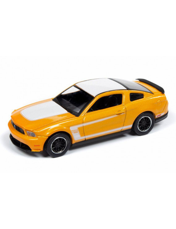 2012 Ford Mustang Boss 302, Yellow with White Roof - Auto World AW64212/48B - 1/64 scale Diecast Model Toy Car